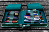 Galen Leather 40 Pen Zippered Case - Crazy Horse Forest Green