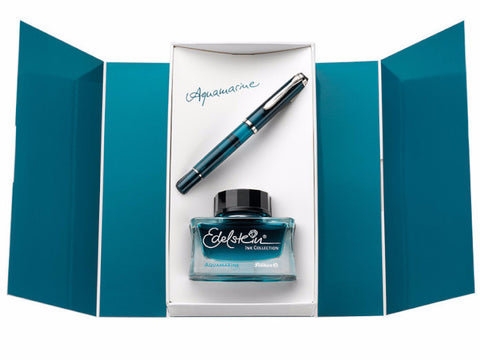 Pelikan M205 Aquamarine Fountain Pen - Special Edition Boxed Set with Ink