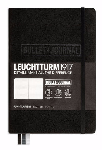 Leuchtturm1917 Medium (A5) Hardcover Bullet Journal Notebook (Dot Grid) - Black