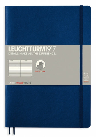 Leuchtturm1917 Softcover Ruled Composition Notebook B5 - Dot Grid - Navy