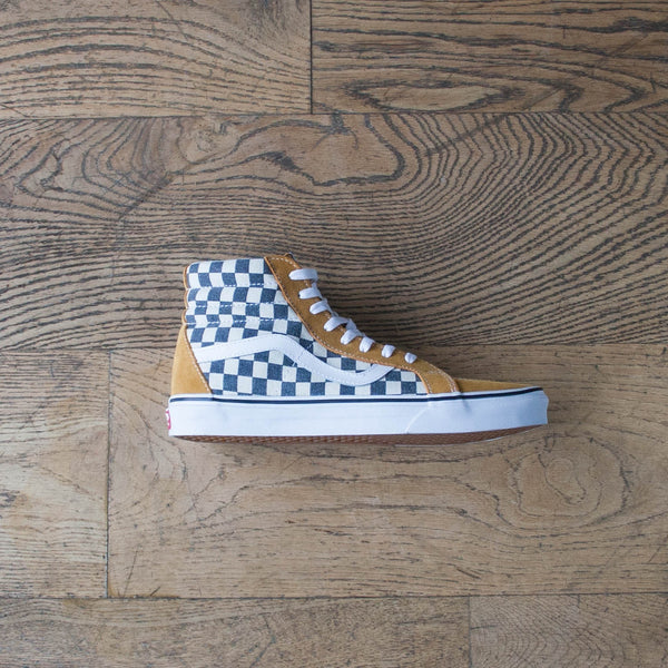 Sk8 Hi (Checkerboard) Spruce Yellow, Navy