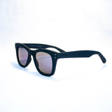 komono allen wayfarer black rubber blue mirror lens 3/4 view