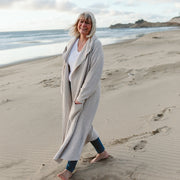 WOMENS HOODED KNIT LONG CARDIGAN | STORM GRAY