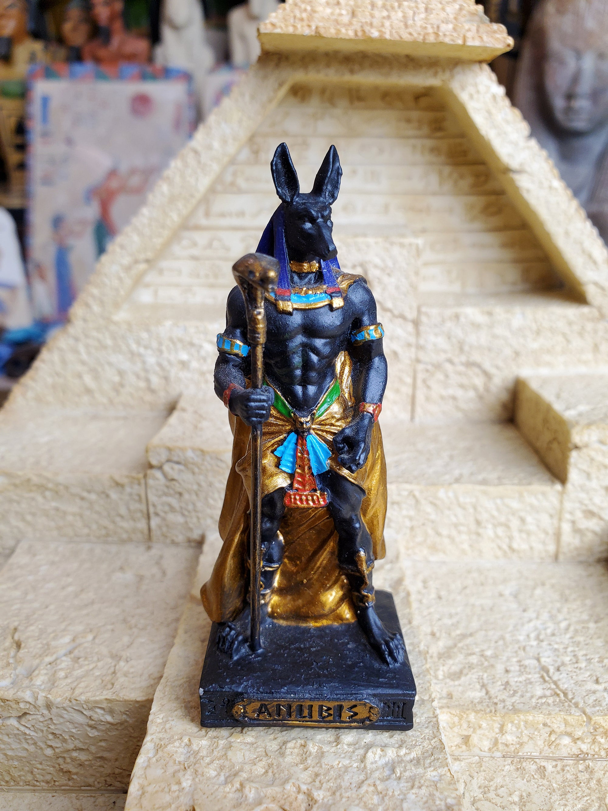 Ancient Egyptian God Anubis Miniature Statue.