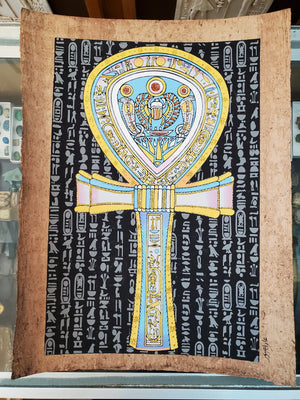 Ankh Glow in the Dark Papyrus on Antiqued Papyrus