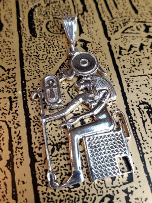 Goddess Sekhmet Seated in Throne Pendant - Egyptian Sterling Silver