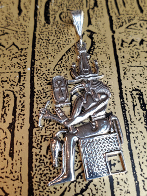 God Thoth in Throne Pendant in Sterling Silver Small - Made in Egypt - God of Wisdom Pendant - 925 Sterling Silver Pendant 5cm/2''