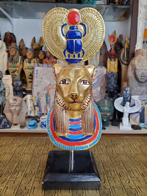 Golden Sekhmet Mask With Scarab Crown