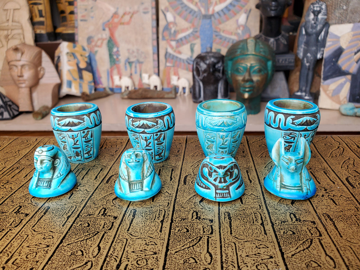 Egyptian Canopic Jars SET OF 4 - Imset, Hapi, Qebehsenuef & Duamutef - Hand Carved in Egypt