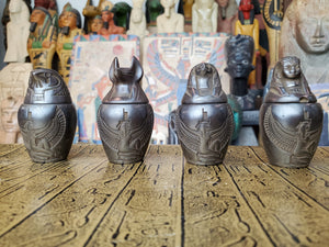 Egyptian Canopic Jars SET OF 4 - Imset, Hapi, Qebehsenuef & Duamutef - Hand Carved in Egypt Featuring Isis
