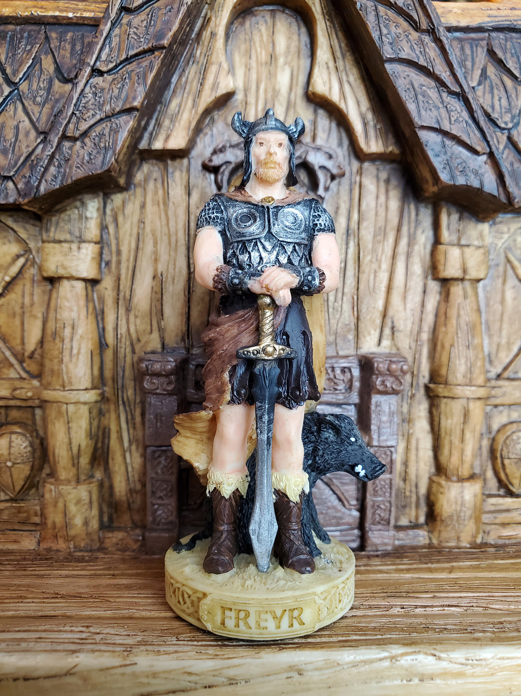 Freyr Mini Statue - Small Hand-Painted Norse God Freyr/Frey - Mini Altar Statue