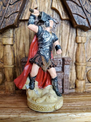 Thor Mini Statue - Small Hand-Painted Norse God Thor/Þórr