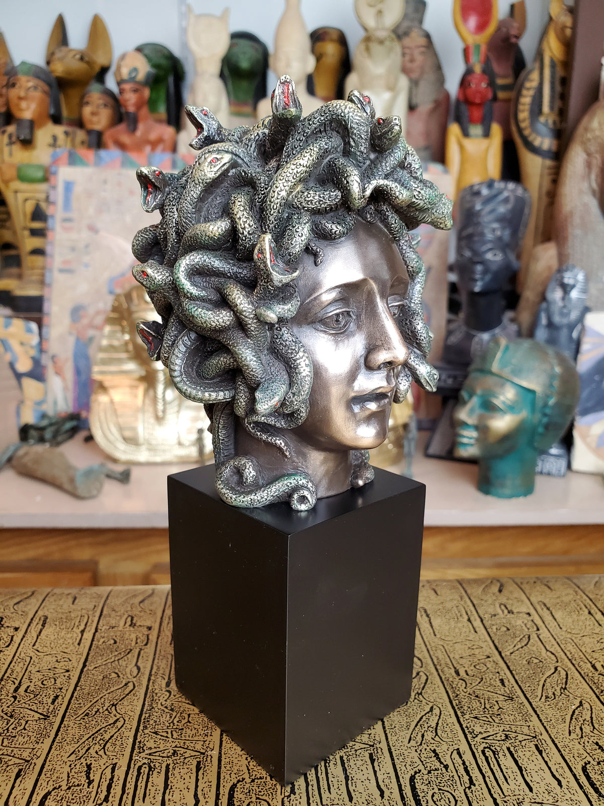 Medusa Bust on Plinth Statue - Cold Cast Bronze