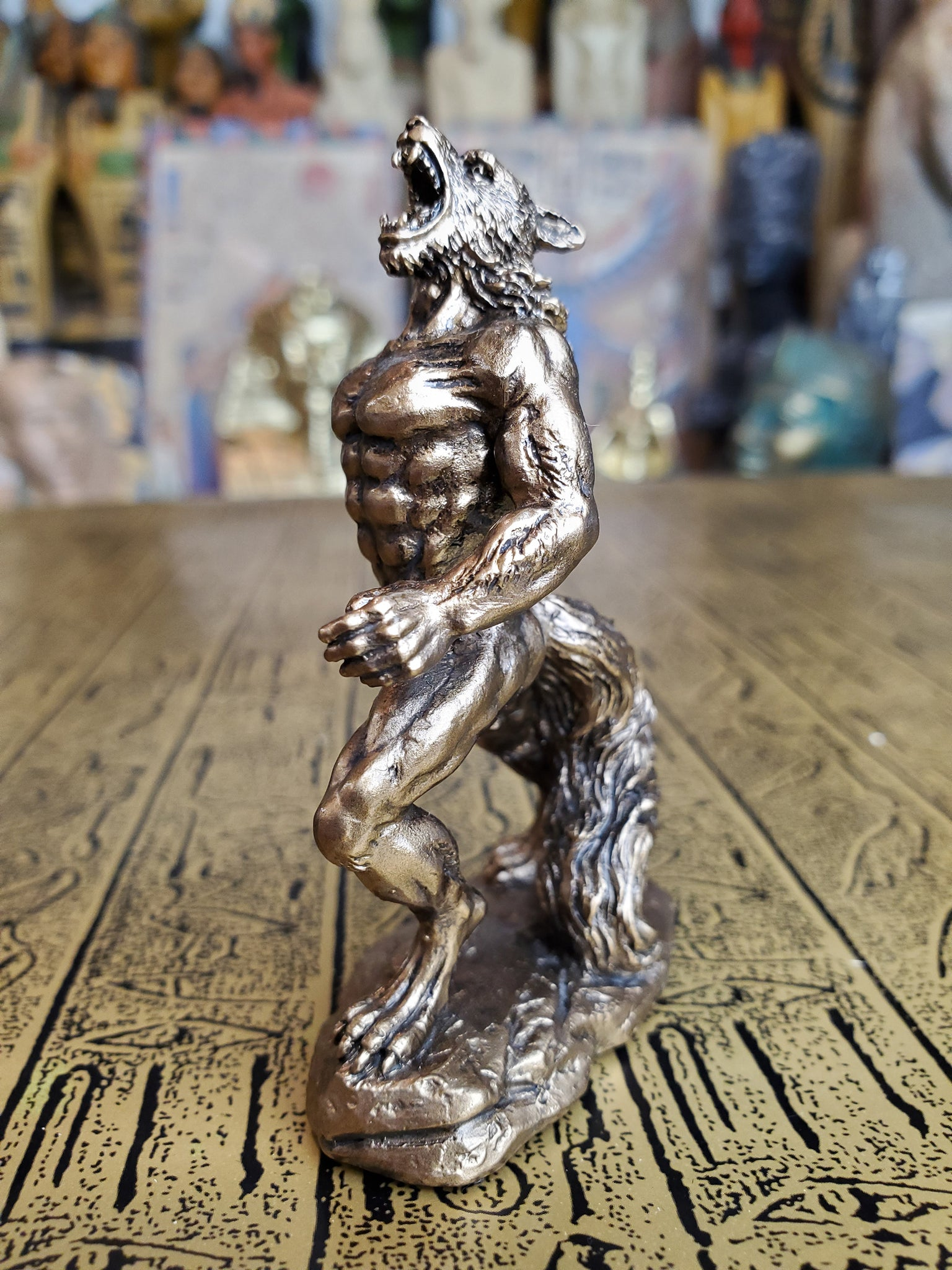 Lycanthrope Werewolf Howling at the Moon Mini Statue - Cold Cast Bronze