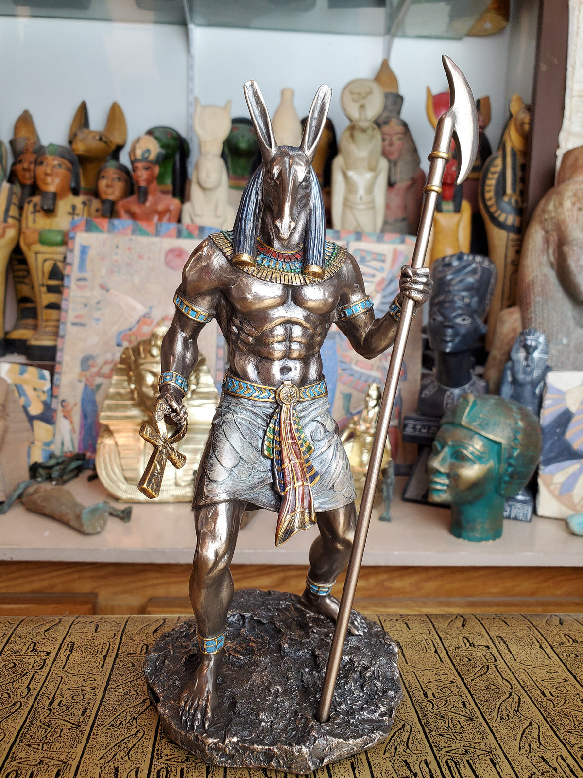 Set/Seth Statue - Egyptian God of Chaos Seth holding Was Sceptre