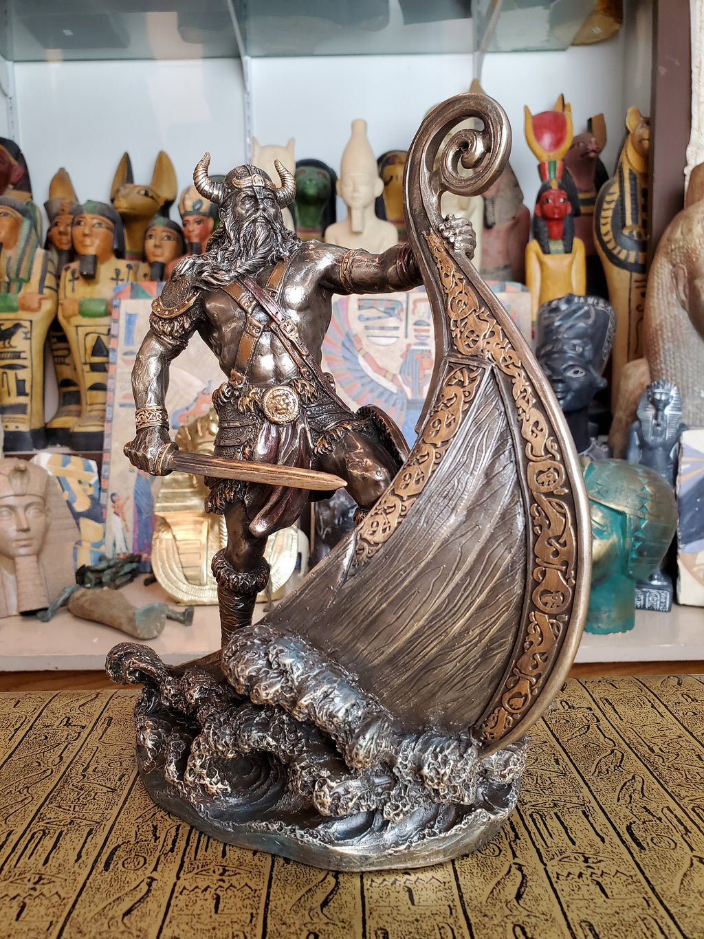Viking on the Prow Statue - Cold Cast Bronze