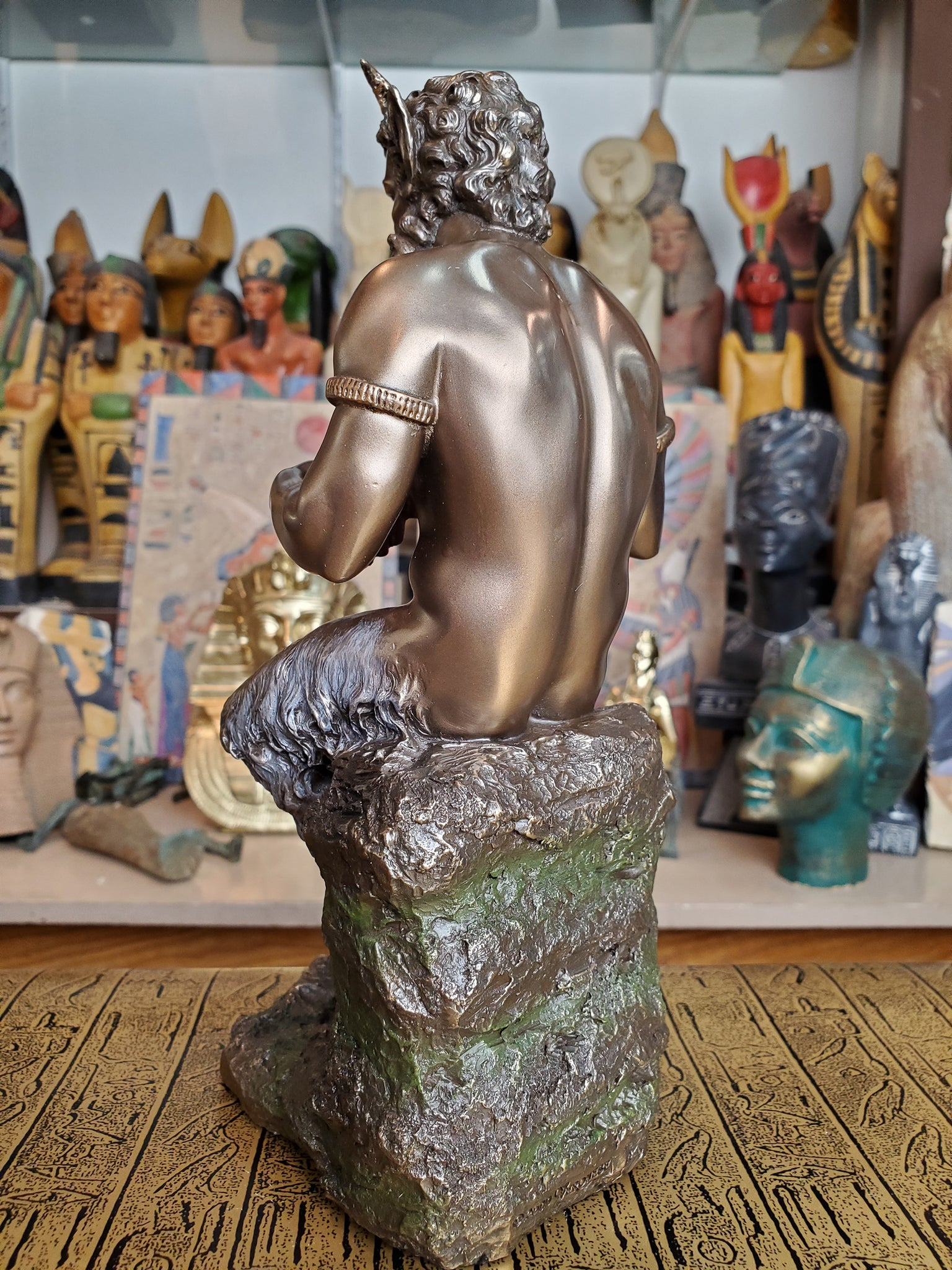 Pan Sitting on Rock Statue - Cold Cast Bronze