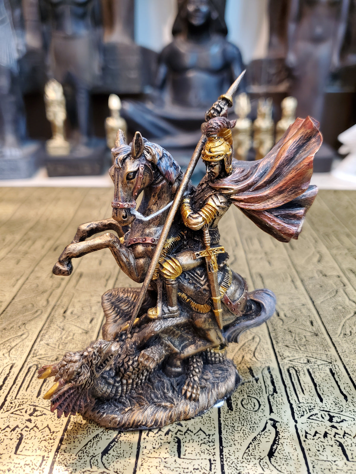Small Bronze Finish Saint George Statue - Archangel St. George Slaying Dragon