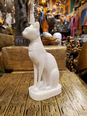 Bastet Statue in White Alabaster