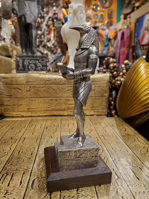 Pewter Thoth Statue on Wood Base