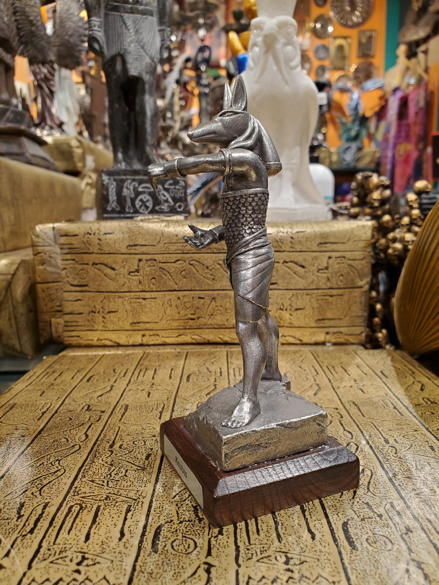 Pewter Anubis Statue on Wood Base