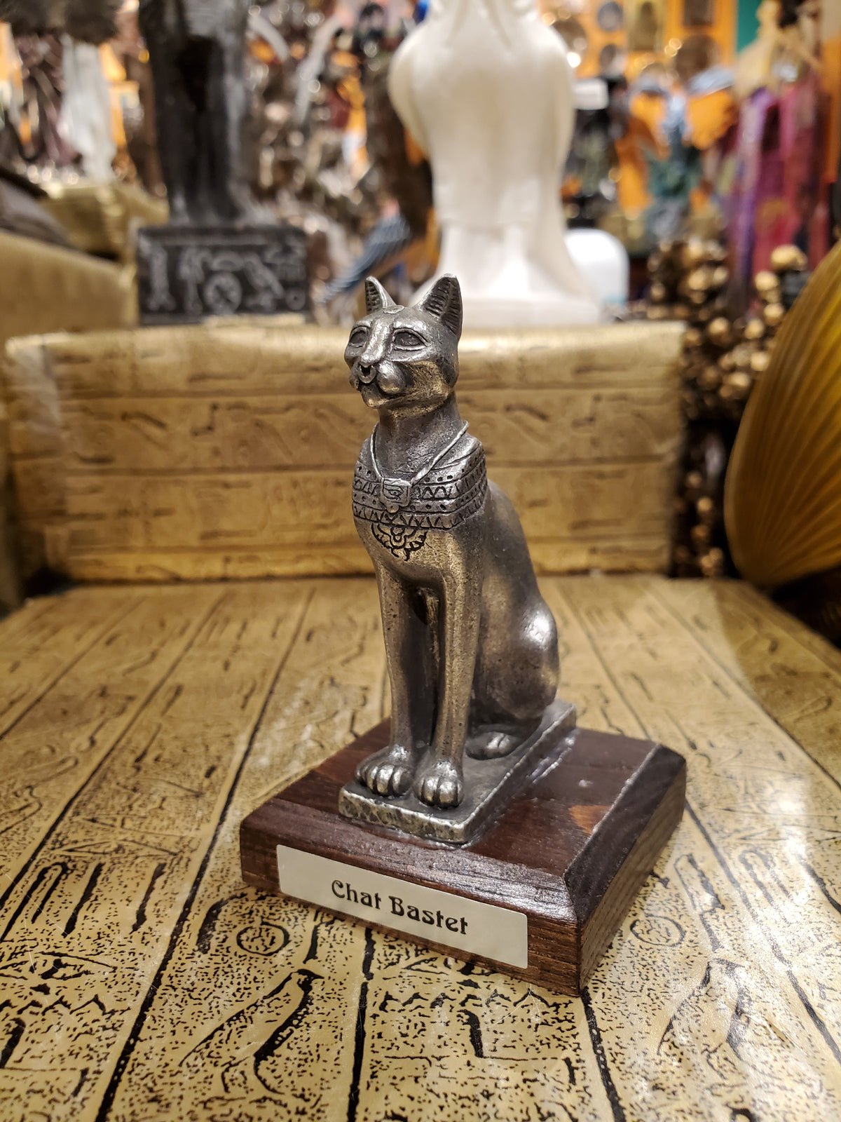 Pewter Bastet Statue on Wood Base