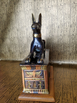 Anubis On Sarcophagus Statue - Made in Egypt
