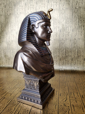 Egyptian Pharaoh Bust on Plinth