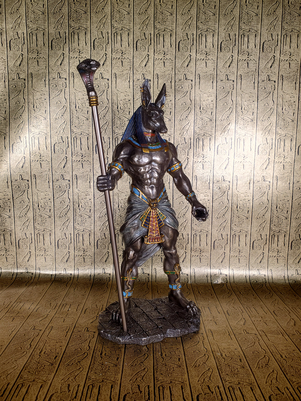 Ancient Egyptian God Anubis with Cobra Staff Statue