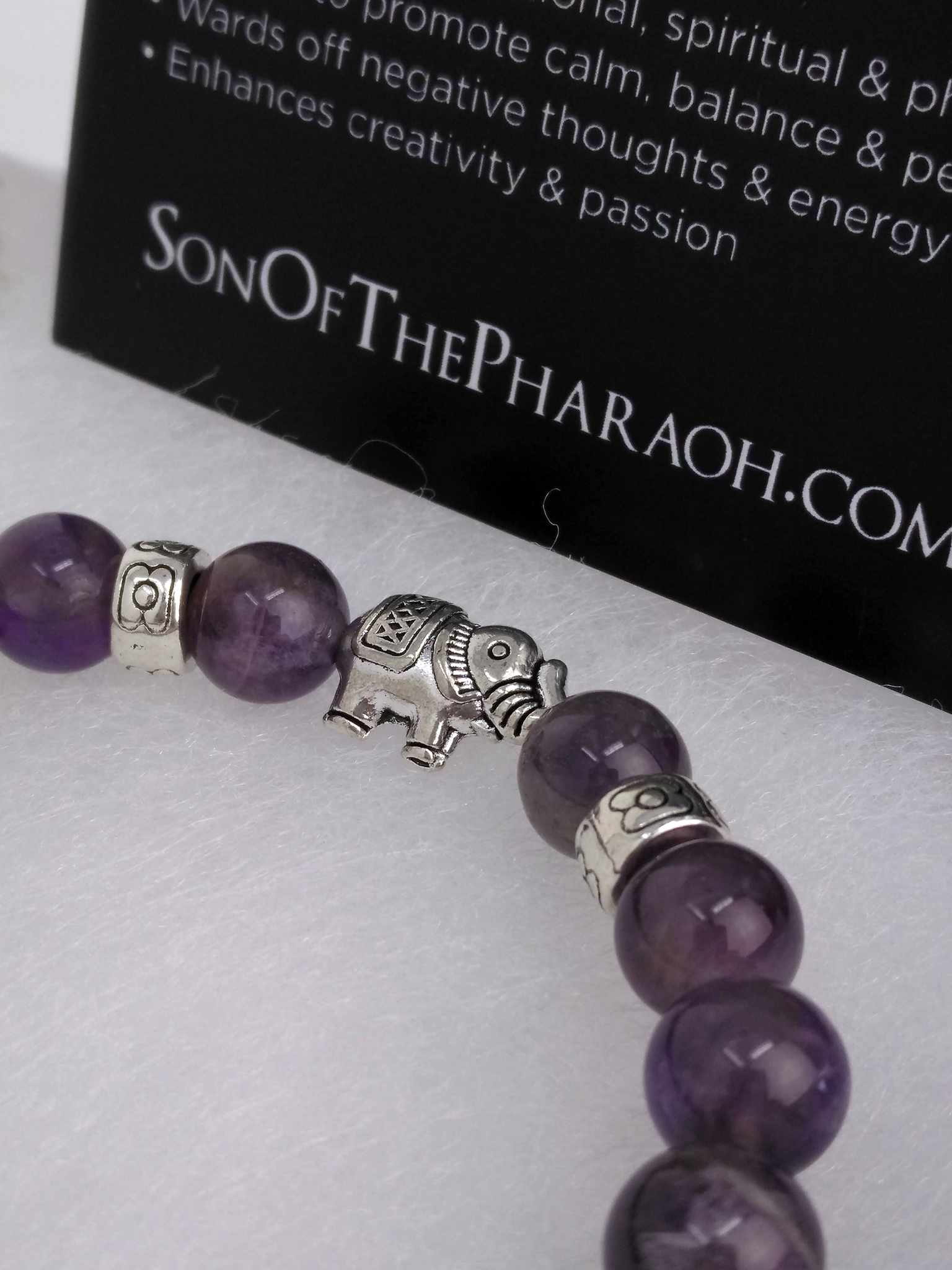 Amethyst Bracelet with Silver Plated Elephant Charm