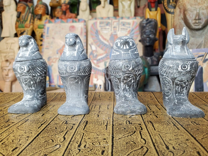 Egyptian Canopic Jars SET OF 4 - Made in Egypt