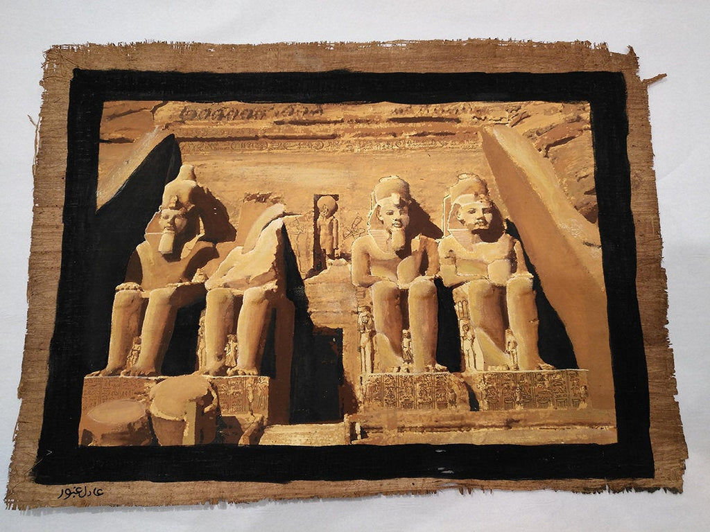 Limited Edition Hand-painted Abu Simbel on Antiqued Papyrus - 30x40cm