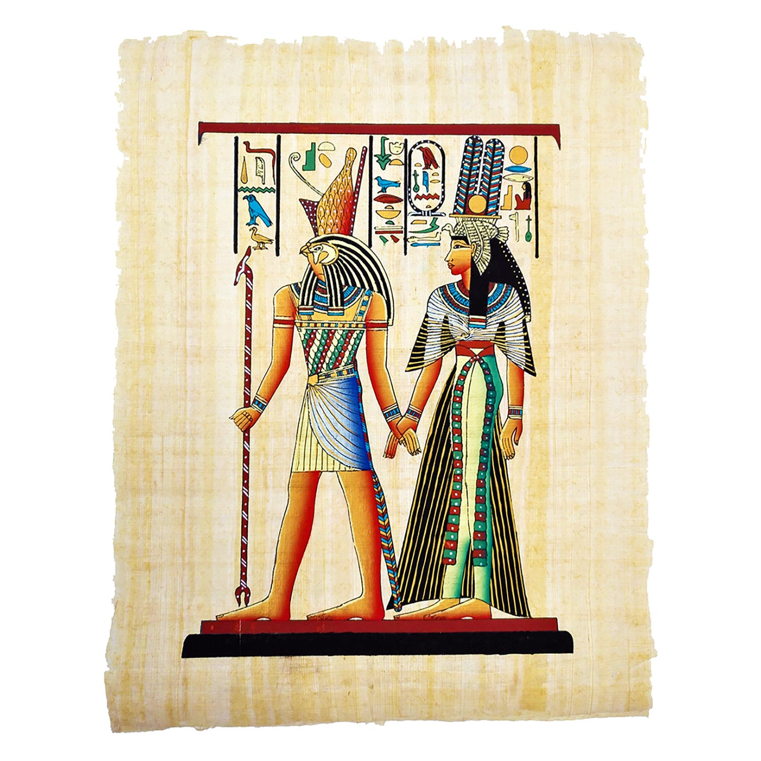 Hand-painted Horus Leading Queen Nefertari into the Afterlife - 30x40cm