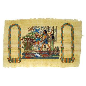 Hand-painted Fishing & Fowling on the Nile Double Cartouche Papyrus - 30x40cm