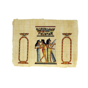 Hand-painted Ancient Egyptian Music Girls Customizable Cartouche Papyrus 30x40cm