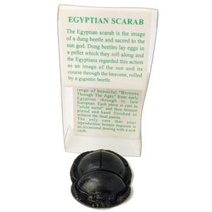 Ancient Egyptian Scarab Beetle - Beautiful Bronze Reproduction Figurine - Small Ancient Egyptian Good Luck Charm - Exact Museum Replica!