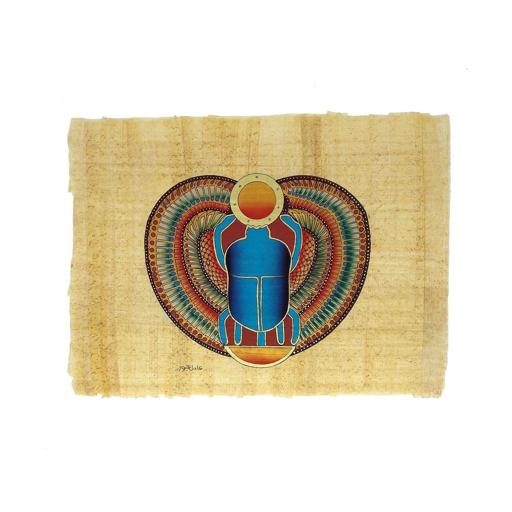 Hand-painted Sacred Winged Scarab With Sun Disc Papyrus - 30x40cm