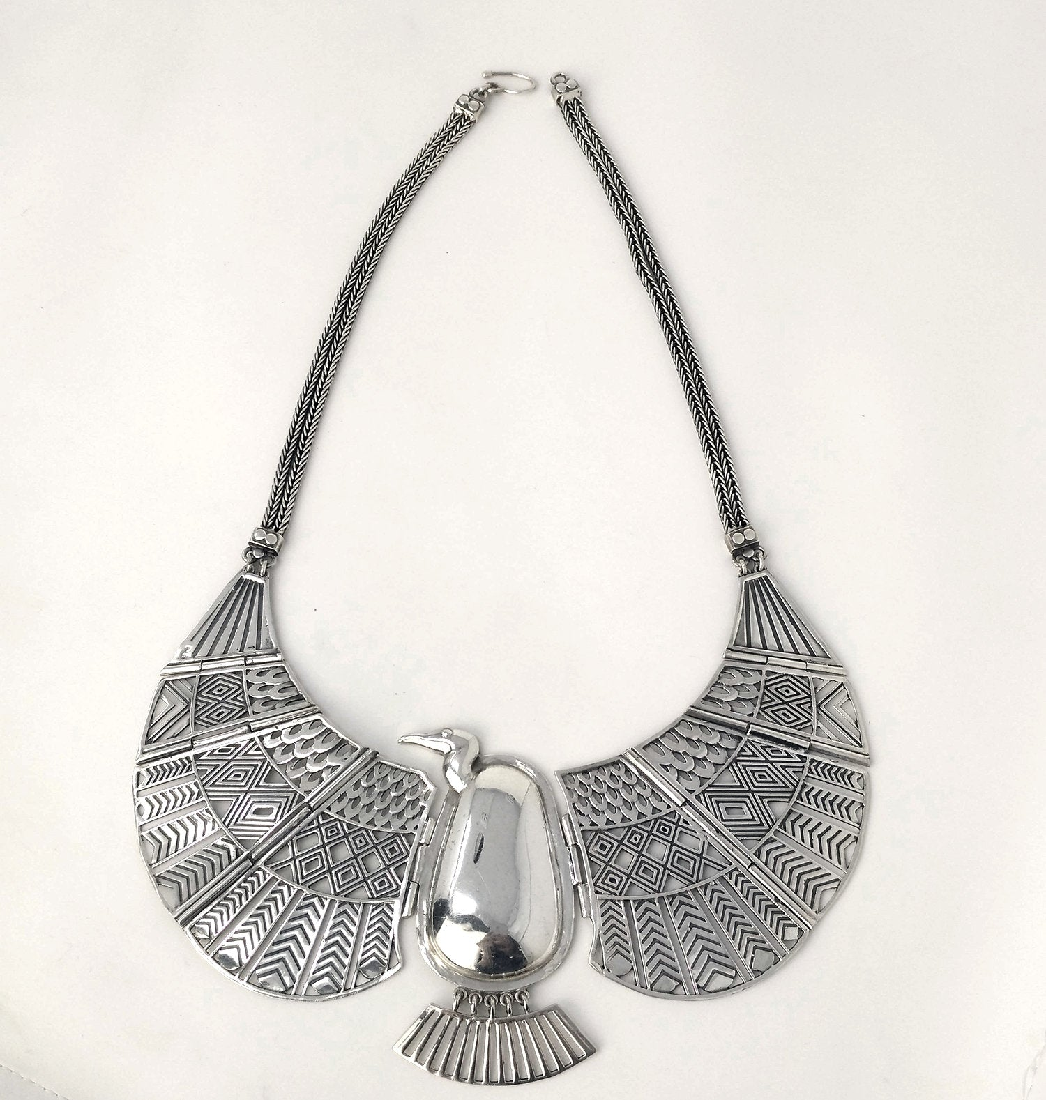 Sterling Silver Ancient Egyptian Vulture Goddess Nekhbet Collar - Custom Designed Solid Sterling Silver Necklace Collar