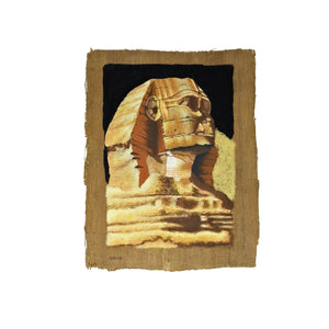 Limited Edition Hand-Painted Sphinx with Pyramid Background on Antiqued Papyrus