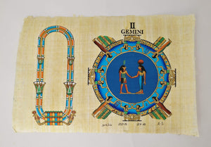 Customizable Egyptian Zodiac Gemini Papyrus - We paint your name in Hieroglyphics! Egyptian Astrology from Dendera Temple - 20x30cm