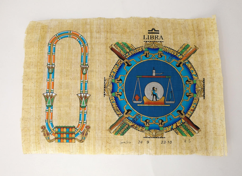 Customizable Egyptian Zodiac Libra Papyrus - We paint your name in Hieroglyphics! Egyptian Astrology from Dendera Temple - 20x30cm