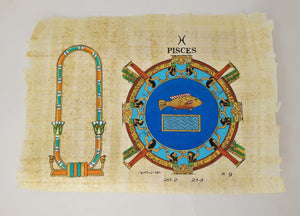 Customizable Egyptian Zodiac Pieces Papyrus - We paint your name in Hieroglyphics! Egyptian Astrology from Dendera Temple - 20x30cm
