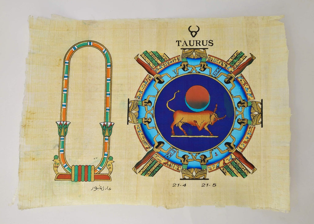 Customizable Egyptian Zodiac Taurus Papyrus - We paint your name in Hieroglyphics! Egyptian Astrology from Dendera Temple - 20x30cm