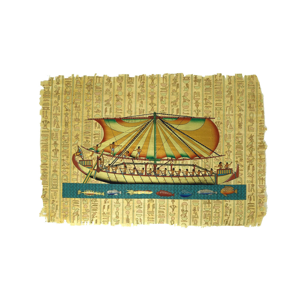 Egyptian Papyrus of Boat on the Sacred Nile - 40x60cm