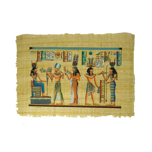 Ramses II with Queen Nefertari offering Lotus Flowers to Goddess Isis And Ramses II Offering to Hathor- 40x60cm