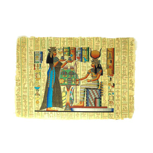 Queen Nefertari offering Oils to Goddess Isis Papyrus - 40x60cm