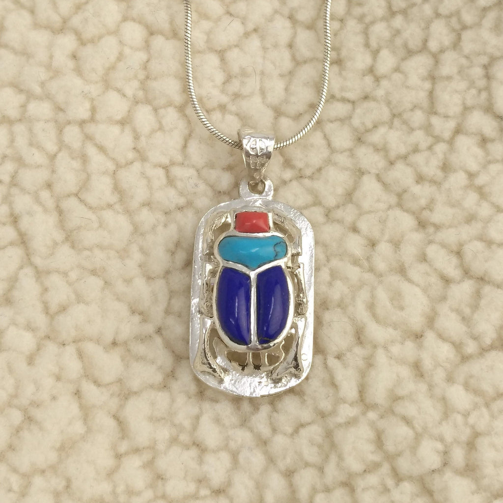 Sterling Silver Scarab Pendant inlaid with Coral, Turquoise, and Lapis Lazuli - Ancient Egyptian Sacred Scarab Beetle Pendant