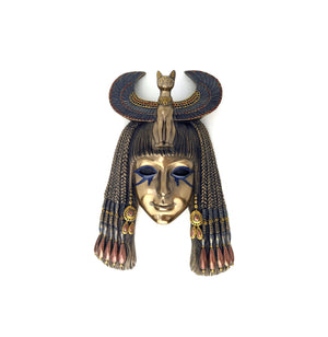Goddess Bastet Mask - Art Deco Goddess Bastet Wall Mask with Hand-painted detail