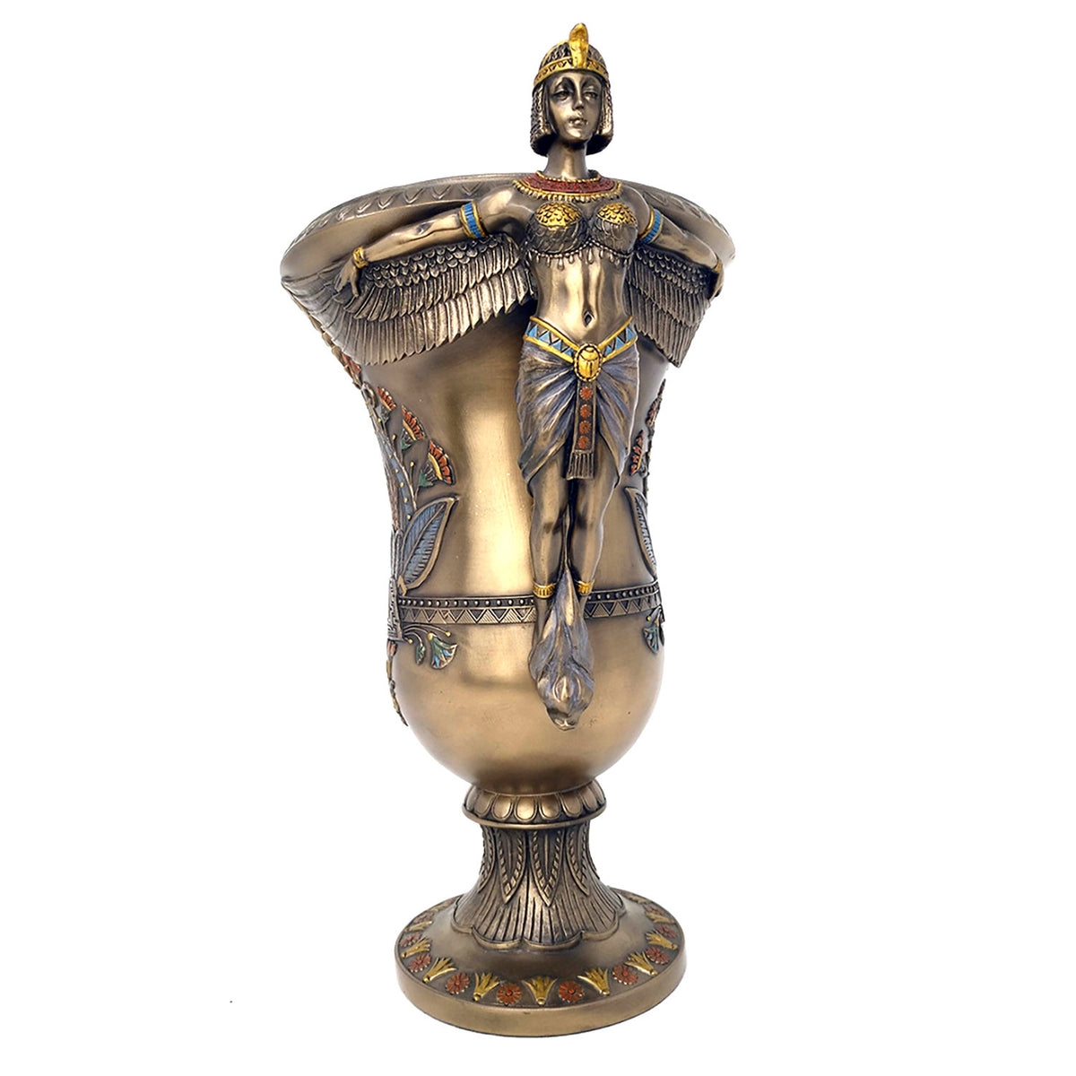 Egyptian Goddess Vase - Ancient Egyptian Art Deco Style Goddess Standing Vase with Hand-painted detail
