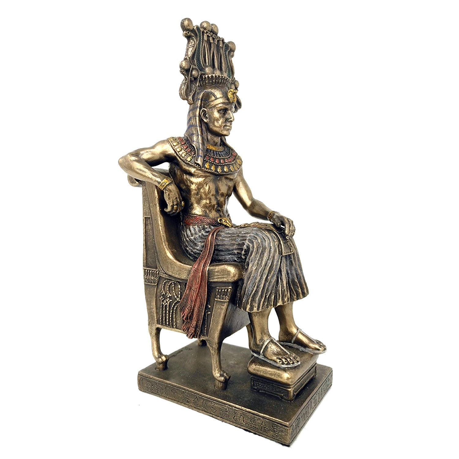 Egyptian Pharaoh sitting on Throne with Ceremonial Headdress - Bold Egyptian Pharaoh Statue in Art Deco style with Hand-painted detail